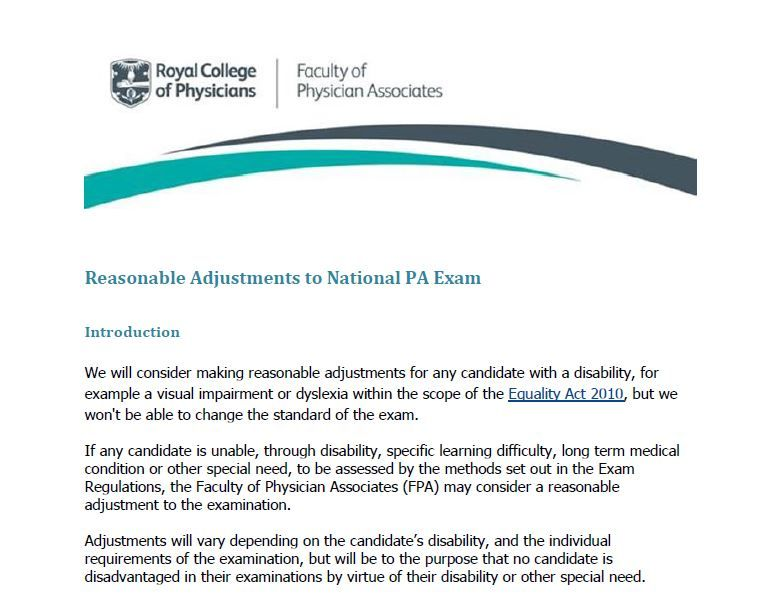 Examinations faculty of physician associates quality health care reasonable adjustment policy malvernweather Choice Image