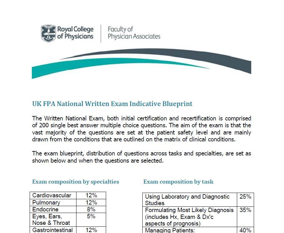 Examinations Faculty Of Physician Associates Quality Health Care